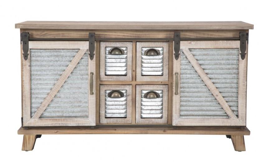 Comoda din lemn si metal cu 2 usi culisante Old West II, l110xA39xH60 cm