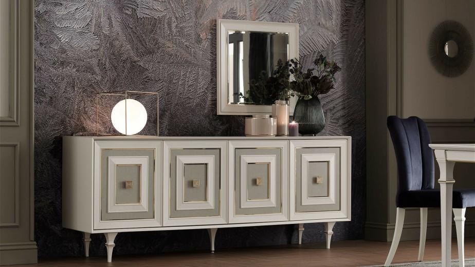 Oglinda decorativa cu rama din MDF Catherine Ivoir / Auriu, l70,4xH70,4 cm