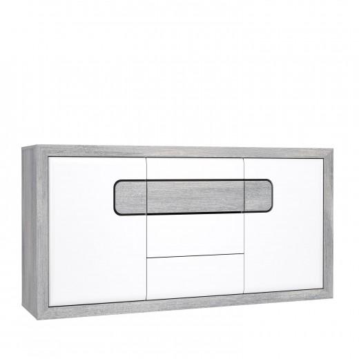 Comoda din pal, cu 3 sertare si 2 usi Torrin Stejar Ice Grey / Alb, l165,4xA41,7xH85 cm