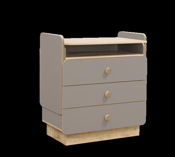 Comoda din pal cu 3 sertare, transformabila pentru bebe Baby Grey / Natural, l85xA51xH94 cm
