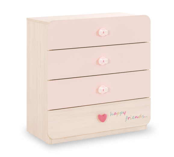 Comoda din pal cu 4 sertare, pentru bebe Baby Girl Light Pink / Nature, l78xA42xH80 cm