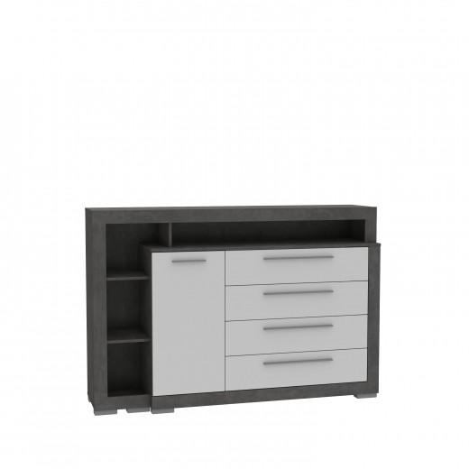 Comoda din pal, cu 4 sertare si 1 usa Jelte Gri Inchis / Alb, l161,8xA42xH107,4 cm