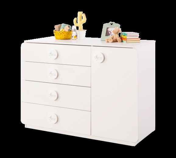 Comoda din pal cu 4 sertare si 1 usa, pentru bebe Baby Cotton Alb, l125xA56xH89 cm