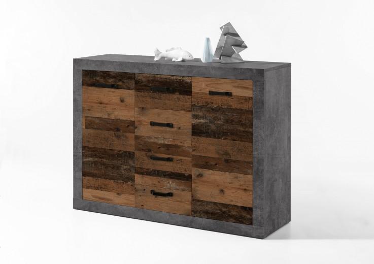Comoda din pal, cu 4 sertare si 2 usi Inez Gri / Natur, l117xA37xH90 cm