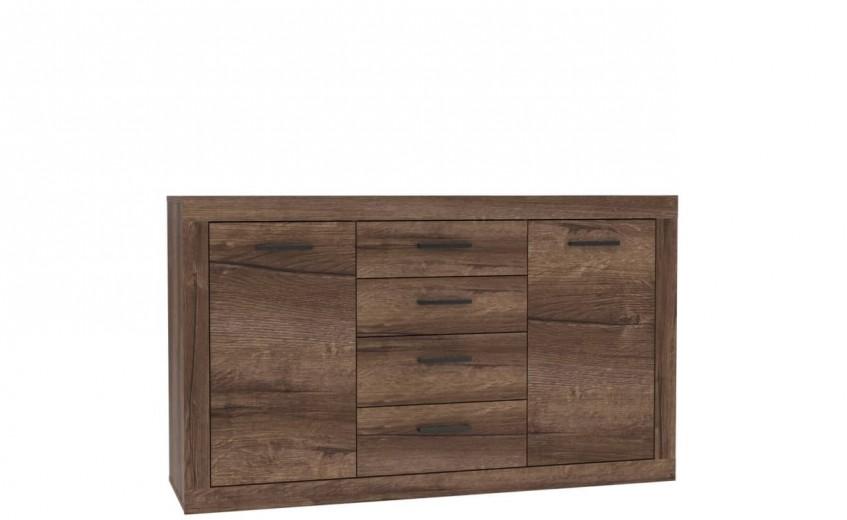 Comoda din pal, cu 4 sertare si 2 usi Tala Stejar Noble Oak, l142,8xA41,3xH85 cm