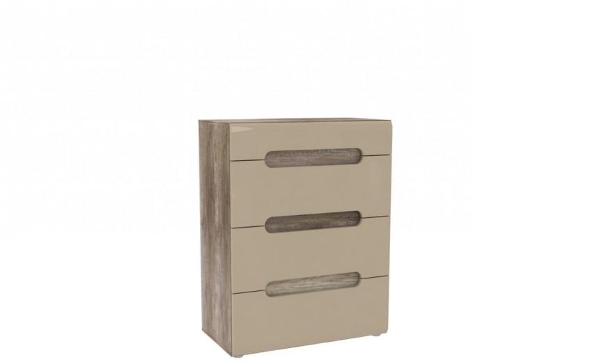 Comoda din pal, cu 4 sertare Tadita Stejar / Bej, l80xA43,2xH104,1 cm
