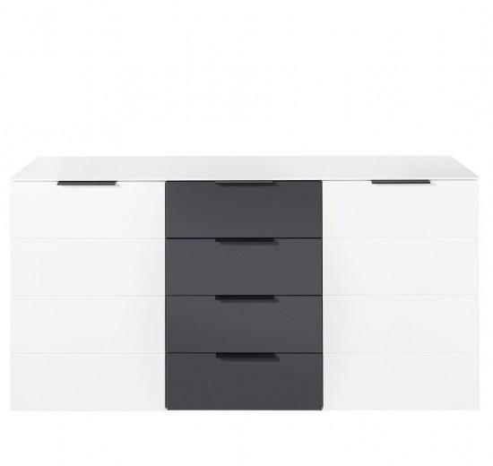 Comoda din pal si MDF cu 4 sertare si 2 usi, Madeline Alb / Grafit, l180xA44xH90 cm