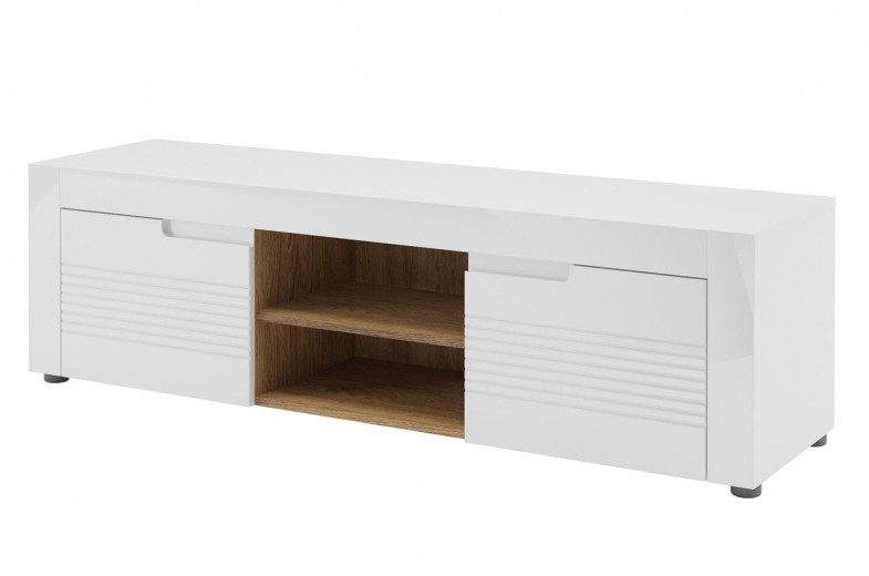 Comoda TV din pal si MDF, cu 2 usi  Belfort 25 Alb, l150xA41xH44 cm