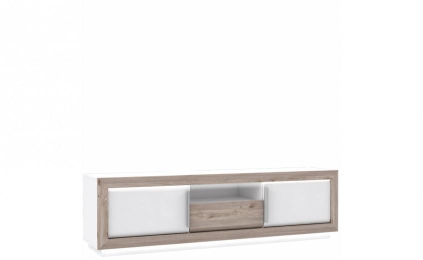 Comoda TV din pal si MDF, cu 1 sertar si 2 usi Conveq Stejar / Alb, l192,6xA53xH56,1 cm