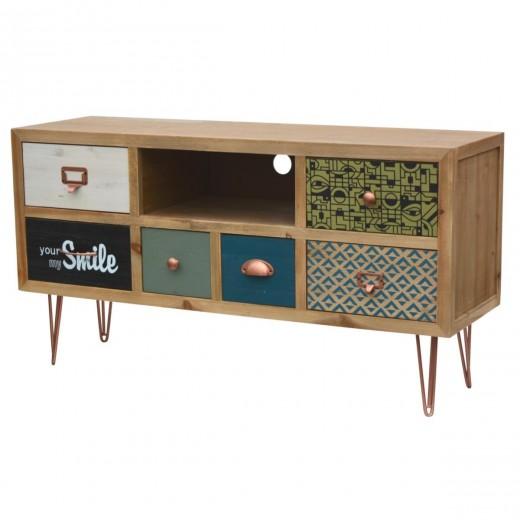 Comoda TV din lemn de brad, Portofino F008, l110xA34xH59 cm