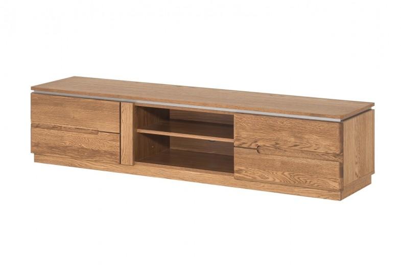 Comoda TV din lemn si furnir, cu 2 usi Montenegro 25 Medium Stejar Rustic, l163xA42xH38 cm