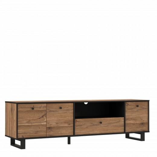 Comoda TV din metal si pal cu 1 sertar si 3 usi Sedna Stejar / Negru, l180,8xA42xH52,8 cm