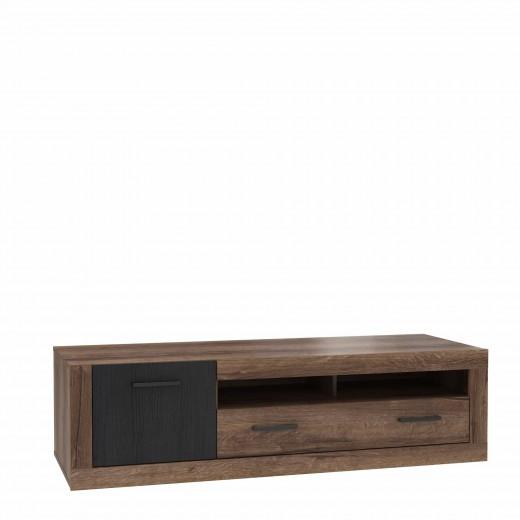 Comoda TV din pal, cu 1 sertar si 1 usa Tala Stejar Noble Oak / Negru, l143,1xA52xH40,2 cm