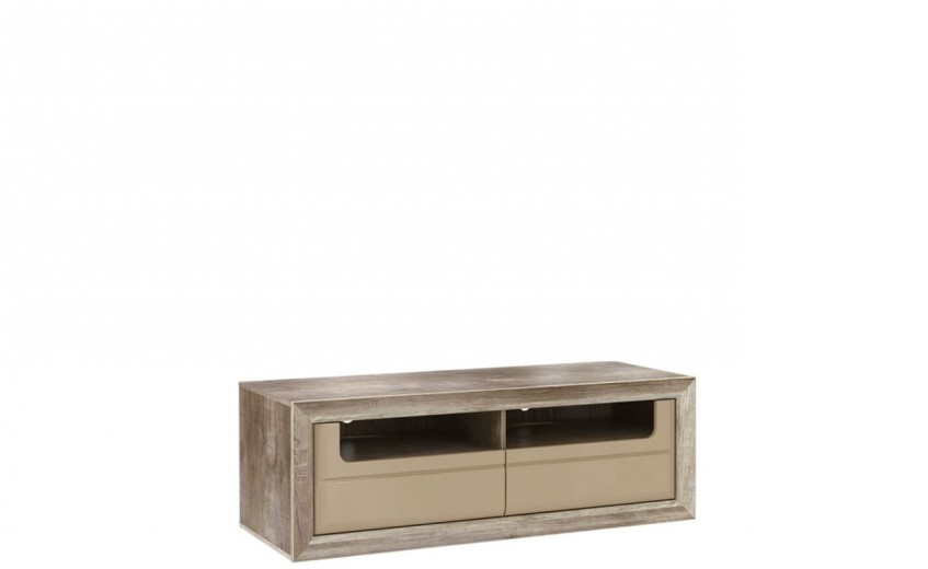 Comoda TV din pal, cu 2 sertare Tadita Stejar / Bej, l143,7xA54,2xH49,8 cm