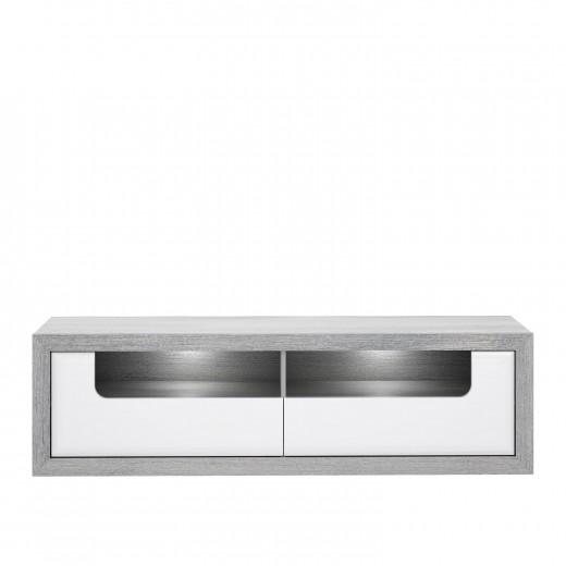 Comoda TV din pal, cu 2 sertare si LED inclus Torrin Stejar Ice Grey / Alb, l160,7xA41,7xH46,7 cm