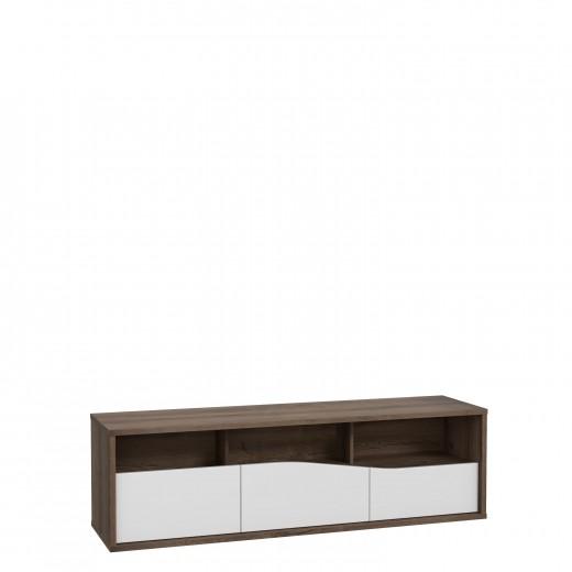 Comoda TV din pal, cu 3 sertare Wafi Stejar / Alb, l159,2xA42xH47,9 cm