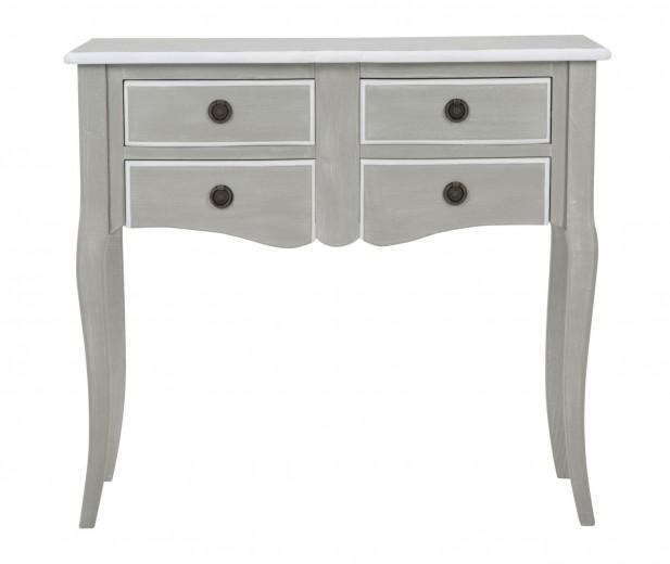 Consola din lemn cu 4 sertare Marseille Plus Grey, l85xA40xH76 cm