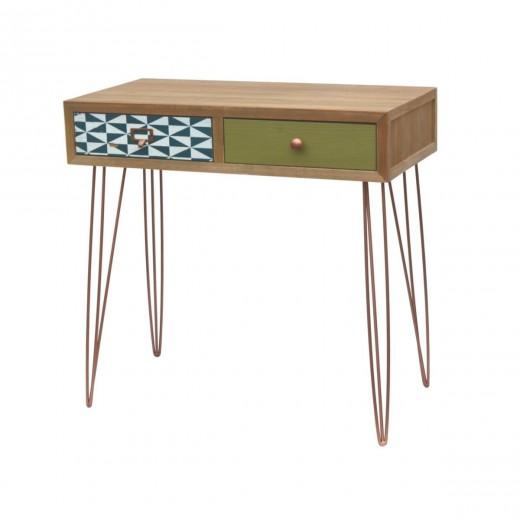 Consola din lemn de brad cu 2 sertare Portofino Multicolor F009, l80xA40xH78 cm