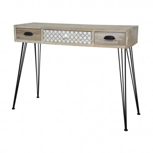 Consola din lemn de plop si MDF cu 3 sertare Loano LO013, l105xA36xH80 cm