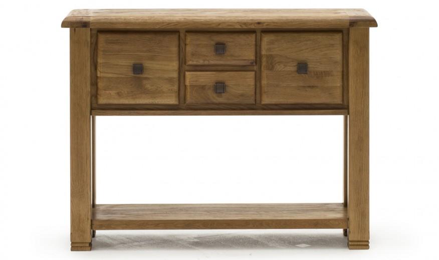 Consola din lemn de stejar cu 4 sertare Danube Large Oak, l120xA36xH90 cm