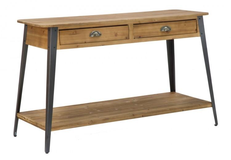 Consola din lemn si metal, cu 2 sertare Boston Natural / Negru, l125xA40xH75 cm