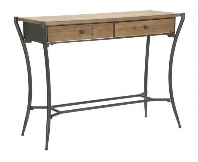 Consola din lemn si metal, cu 2 sertare Glasgow Natural / Grafit, l110xA40xH80 cm