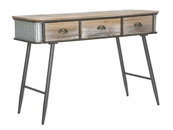 Consola din lemn si metal, cu 3 sertare Bronxs Natural / Grafit, l118xA45,5xH80,5 cm