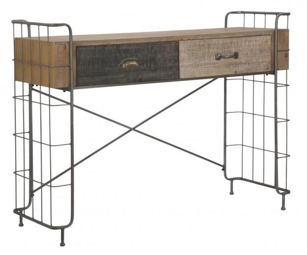 Consola din lemn si metal, cu 2 sertare Express Natural, l122xA43,5xH92 cm