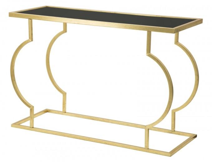 Consola din metal si sticla Egit Gold / Black, l120xA45,5xH81,5 cm