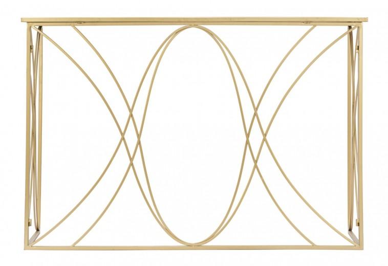 Consola din metal si sticla Exy Auriu, l120xA40xH80 cm