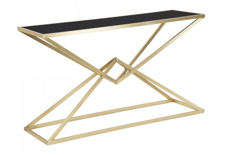 Consola din metal si sticla Piramid Auriu / Negru, l130xA40xH75 cm