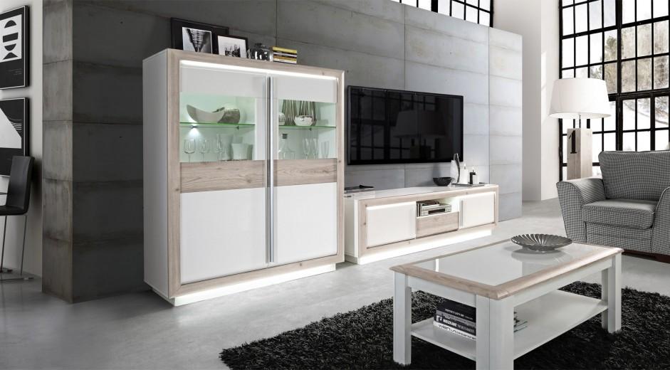 Set de mobila living din MDF, 3 piese Conveq Oak / White