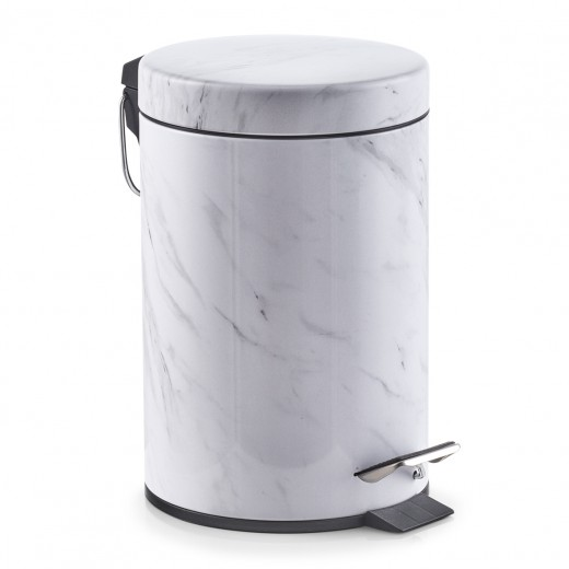 Cos de gunoi cu pedala pentru baie, Marble White, 3L