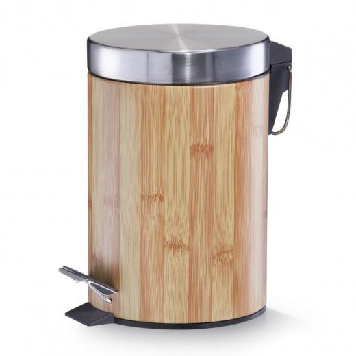 Cos de gunoi cu pedala pentru baie, Metal, Bamboo Optic, 3L