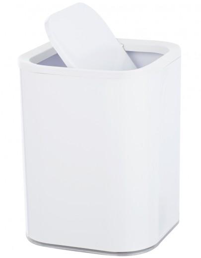 Cos de gunoi pentru baie, din plastic, Oria Alb, 7L, L19,5xl19,5xH25 cm