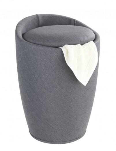 Cos de rufe / Taburet din plastic, tapitat cu stofa, Candy Gri Inchis, Ø36xH50,5 cm
