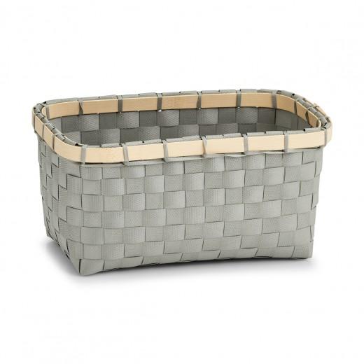Cos pentru depozitare, 2-Plastic Grey Bamboo, l24xA15xH12 cm