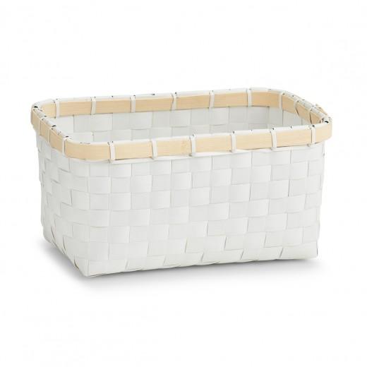 Cos pentru depozitare, 2-Plastic White Bamboo, l24xA15xH12 cm