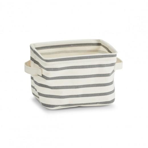 Cos pentru depozitare din panza, Grey Stripes, l21xA17xH14 cm