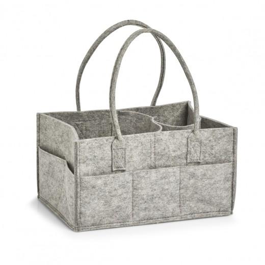 Cos pentru depozitare si organizare cu manere, din pasla Carry Gri, L33xl24xH39 cm