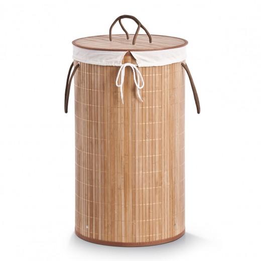 Cos pentru rufe cu capac Cotton, Natural Bamboo, Ø 35xH60 cm