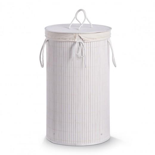 Cos pentru rufe cu capac Cotton, White Bamboo, Ø 35xH60 cm
