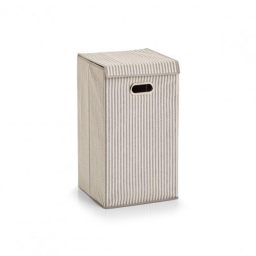 Cos pentru rufe cu capac, Fleece, Beige Stripes, l32xA32xH57 cm