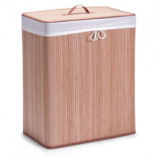 Cos pentru rufe cu capac si 2 compartimente Cotton, Natural Bamboo, l52xA32xH63 cm