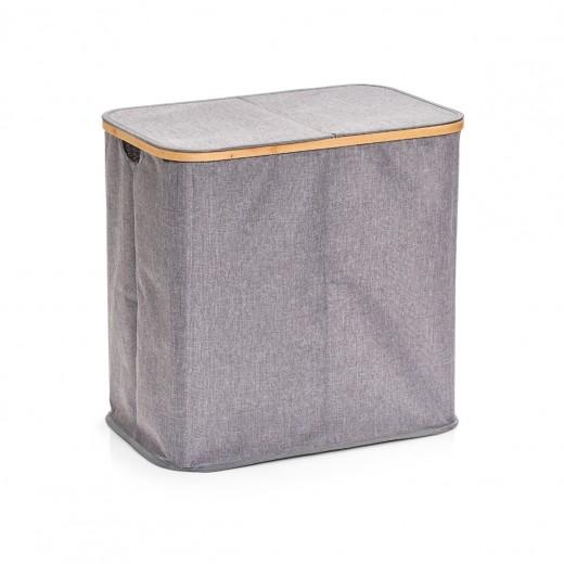 Cos pentru rufe cu capac si 2 compartimente, Gri Poliester, l53,4xA33xH50 cm
