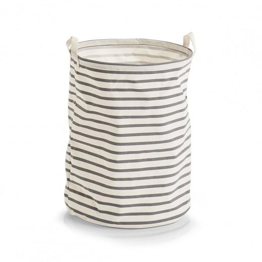 Cos pentru rufe din panza, Stripes Gri, Ø 38xH48 cm