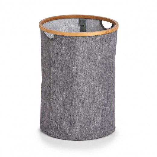 Cos pentru rufe din poliester, Hamper Gri, Ø36xH50 cm