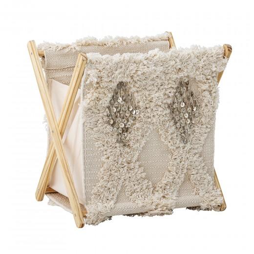 Cos pentru rufe pliabil, bumbac si cadru din lemn, Nature, l38xA30xH40 cm