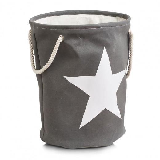 Cos pentru rufe Star, Grey Cotton, Ø 38xH54 cm