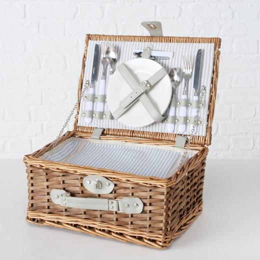 Cos picnic echipat pentru 2 persoane Darnley Natural, 14 piese